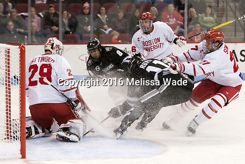 Jake Oettinger (BU - 29), Ryan Tait (PC - 8), John MacLeod (BU - 16), Niko Rufo (PC - 11), Doyle Somerby (BU - 27) - The Boston University Terriers tied the visiting Providence College Friars 2-2 on Saturday, December 3, 2016, at Agganis Arena in Boston, Massachusetts.