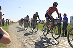 The peloton including Lars Ytting Bak (DEN) Lotto-Soudal, Marcus Burghardt (GER) and World Champion Peter Sagan (SVK) Bora-Hansgrohe on pave sector 17 Hornaing a Windignies during the 115th edition of the Paris-Roubaix 2017 race running 257km Compiegne to Roubaix, France. 9th April 2017.<br /> Picture: Eoin Clarke | Cyclefile<br /> <br /> <br /> All photos usage must carry mandatory copyright credit (&copy; Cyclefile | Eoin Clarke)