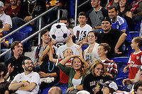 fans play with a beach ball. The New York Red Bulls defeated the Portland Timbers 2-0 during a Major League Soccer (MLS) match at Red Bull Arena in Harrison, NJ, on September 24, 2011.