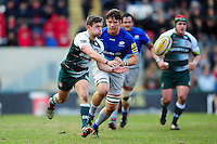 Jono Kitto of Leicester Tigers passes the ball. Aviva Premiership match, between Leicester Tigers and Saracens on March 20, 2016 at Welford Road in Leicester, England. Photo by: Patrick Khachfe / JMP