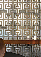 Theseus, a handmade mosaic shown in ceramic Ironwood, brushed Aluminum and honed Montevideo. Designed by Sara Baldwin Designs for New Ravenna.<br />