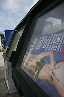 A newspaper rack near the Pacific Beach Post Office in San Diego city contains material that many residents feel is inappropriate for their community, Friday November 16 2007.  A new city-wide ordinance passed by the San Diego City Council will provide more stringent rules for the maintenance and content of the racks found in many parts of the city.  Complaints about the adult-rated content of the materials found inside and the general condition of many of the racks that were not properly maintained by their owners lead to the creation of the new ordinance.