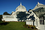 The Conservatory of Flowers is a large botanical greenhouse in San Francisco's Golden Gate Park, constructed in 1878. It houses an important collection of exotic plants and  is the oldest building in Golden Gate Park.  It is also the oldest wooden conservatory remaining in the United States. For these distinctions and for its associated historical, architectural, and engineering merits, the Conservatory of Flowers is listed on the National Register of Historic Places.