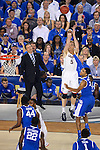 07 APR 2014: Niels Giffey (5) of the University of Connecticut shoots a three over Andrew Harrison (5) of the University of Kentucky during the 2014 NCAA Men's DI Basketball Final Four Championship at AT&T Stadium in Arlington, TX.  Connecticut defeated Kentucky 60-54 to win the national title. Brett Wilhelm/NCAA Photos