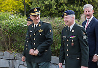 King Philippe of Belgium visits the Royal Military Academy in Brussels - Belgium