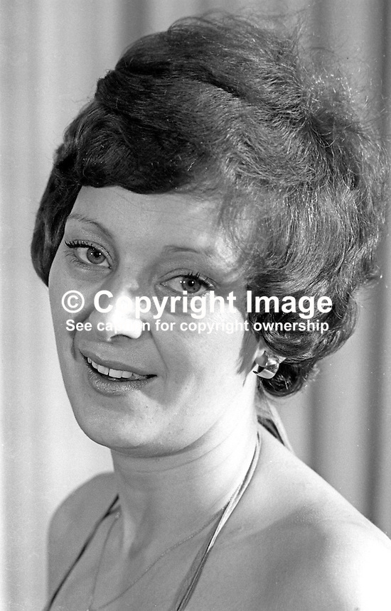 Maureen Tosh, hotel manageress, Portrush, Co Antrim, N Ireland, Miss PTQ, 1976, Rag Week, Queen's University, Belfast. 197602260117<br />