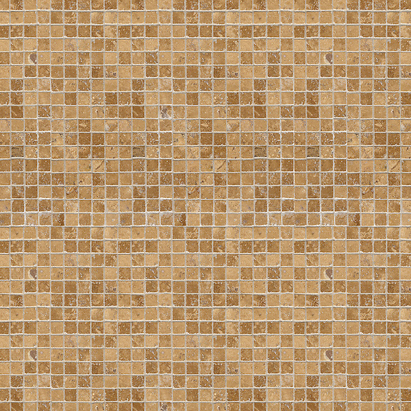 Gridded 2 cm, a hand-cut stone mosaic, shown in polished Travertine Noce.