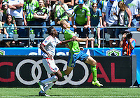Seattle, Washington - June 20, 2015: The San Jose Earthquakes defeat Seattle Sounders FC 2-0 in MLS action on the Xbox Pitch at CenturyLink Field.
