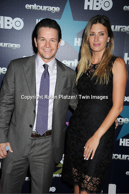 "Mark Wahlberg and wife attending The Eighth and Final Season Premiere of the HBO Show ""Entourage"" on July 19, 2011 at The Beacon Theatre in New York City."