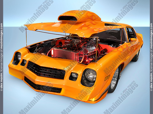 Custom orange muscle car with open hood revealing powerful engine. Isolated with clipping path on blue background.