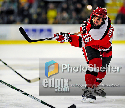 3 January 2009: St. Lawrence Saints' forward Aaron Bogosian, a Sophomore from Massena, NY, in action against the University of Vermont Catamounts during the championship game of the Catamount Cup Ice Hockey Tournament at Gutterson Fieldhouse in Burlington, Vermont. The Cats defeated the Saints 4-0 and won the tournament for the second time since its inception in 2005...Mandatory Photo Credit: Ed Wolfstein Photo