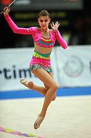 Bilyana Prodanova of Bulgaria expresses with dance during ribbon event final at 2006 Portimao World Cup of Rhythmic Gymnastics on September 10, 2006.