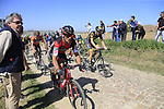 The peloton including Manuel Quinziato (ITA) BMC Racing Team on pave sector 25 Briastre a Solesmes during the 115th edition of the Paris-Roubaix 2017 race running 257km Compiegne to Roubaix, France. 9th April 2017.<br /> Picture: Eoin Clarke | Cyclefile<br /> <br /> <br /> All photos usage must carry mandatory copyright credit (&copy; Cyclefile | Eoin Clarke)