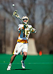 19 March 2011: University of Vermont Catamount Attacker/Midfielder Garrett Virtue, a Sophomore from Rye, NY, in action against the St. John's University Red Storm at Moulton Winder Field in Burlington, Vermont. The Catamounts defeated the visiting Red Storm 14-9. Mandatory Credit: Ed Wolfstein Photo