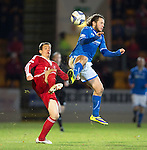 St Johnstone v Aberdeen.....07.12.13    SPFL<br /> Stevie May charges down Peter Pawlett<br /> Picture by Graeme Hart.<br /> Copyright Perthshire Picture Agency<br /> Tel: 01738 623350  Mobile: 07990 594431