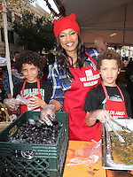 Los Angeles, CA - NOVEMBER 23: Jax Joseph Nilon, Garcelle Beauvais, Jaid Thomas Nilon, At Los Angeles Mission Thanksgiving Meal For The Homeless At Los Angeles Mission, California on November 23, 2016. Credit: Faye Sadou/MediaPunch