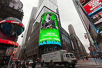 The illuminated display of the Nasdaq headquarters promotes Angie's List which had its IPO last week, seen on Tuesday, November 22, 2011. Angie's List is a crowd sourcing company that provides reviews of service providers, such as contractors and dentists.  (© Richard B. Levine)