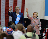 MIAMI, FL -  OCTOBER 11: Democratic Presidential Candidate Hillary Clinton and Former Vice President Al Gore during a rally to discuss climate Change at the Miami Dade Collage on October 11, 2016 in Miami, Florida. Credit: mpi04/MediaPunch