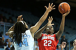 28 November 2012: Ohio State's Darryce Moore (22) and North Carolina's Tierra Ruffin-Pratt (44). The University of North Carolina Tar Heels played the Ohio State University Buckeyes at Carmichael Arena in Chapel Hill, North Carolina in an NCAA Division I Women's Basketball game. UNC won the game 57-54.