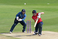 Daniel Lawrence in batting action for Essex as Adam Rouse looks on from behind the stumps during Kent Spitfires vs Essex Eagles, Royal London One-Day Cup Cricket at the St Lawrence Ground on 17th May 2017