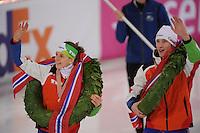 SCHAATSEN: HAMAR: Vikingskipet, 11-01-2014, Essent ISU European Championship Allround, Kampioenen, Ireen Wüst (NED), Jan Blokhuijsen (NED), ©foto Martin de Jong