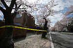 Police tape surrounds the entrance to a house damaged by the March 11 quake  in Tomioka, a town that lies within the evacuation zone around the leaking No. 1 nuclear power plant in  Fukushima Prefecture, Japan on Wednesday 20 April  2011. As of April 21, Japan has made it illegal to enter the 20 km (12 mile) zone..Photographer: Robert Gilhooly