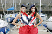 ****NO FEE PIC**** French Mademoiselles Suzanne McCabe Sinead Noonan at the National Yacht Club Dun Laoghaire to launch Festival Des Bateaux which takes place between August 11th and 14th 2011 .Dun Laoghaire will be the only international stop on the world famous French Solitaire du Figaro yacht race. To celebrate the stopover of this iconic 3,390 km race, Dun Laoghaire Rathdown County Council, the Dun Laoghaire Harbour Company and the National Yacht Club have joined forces to create Festival des Bateaux. The harbour will be a magnificent tapestry of colour as the boats arrive for this international event. Dun Laoghaire will be resplendent with fireworks, music and the sights, sounds, foods, and 'joie de vivre' of France. Photo: Gareth Chaney Collins