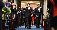TALLAHASSEE, FLA. 3/3/15-Sen. Andy Gardiner, R-Orlando, center, is recognized as he enters the House Chamber during the opening day of the 2015 Legislative Session Tuesday at the Capitol in Tallahassee. Sen. Bill Galvano, R-Bradenton, is   seen behind Gardiner at right.<br />