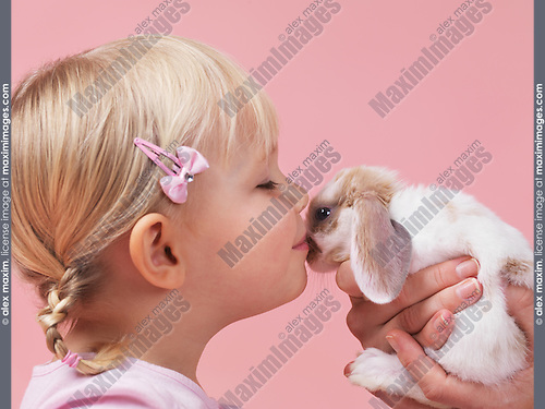 Cute three year old girl kissing a pet rabbit isolated on pink background