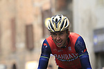 Ondrej Cink (CZE) Bahrain-Merida summits the final climb of Via Santa Caterina in Siena during the 2017 Strade Bianche running 175km from Siena to Siena, Tuscany, Italy 4th March 2017.<br /> Picture: Eoin Clarke | Newsfile<br /> <br /> <br /> All photos usage must carry mandatory copyright credit (&copy; Newsfile | Eoin Clarke)
