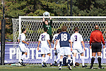 21 October 2012: Northwestern's Tyler Miller (1) grabs the ball. The Northwestern University Wildcats played the Penn State University Nittany Lions at Lakeside Field in Evanston, Illinois in a 2012 NCAA Division I Men's Soccer game. Penn State won the game 1-0 in golden goal overtime.