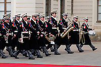 The Prague Castle guard march in honour of the US President Barack Obama during the welcome ceremony at Prague Castle in Prague, Czech Republic, 5 April 2009.