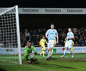 15.01.2013. Torquay, England. Exeter's goalkeeper Artur Krysiak save on the line during the League Two game between Torquay United and Exeter City from Plainmoor.