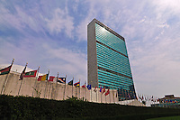 The United Nations building designed by Le Corbusier, flags, Manhattan, New York City, NY
