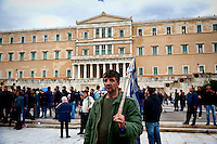 A farmer at Syntagma Square during a protest against pension reform Athens February 12, 2016. <br /> Farmers from across Greece gather in Athens for a two-day protest against the government and its plans to impose new tax hikes and pension charges.