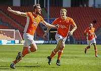 Blackpool's Clark Robertson celebrates scoring his sides second goal with teammate Brad Potts<br /> <br /> Photographer Alex Dodd/CameraSport<br /> <br /> The EFL Sky Bet League Two - Blackpool v Cheltenham Town - Saturday 22nd April 2017 - Bloomfield Road - Blackpool<br /> <br /> World Copyright &copy; 2017 CameraSport. All rights reserved. 43 Linden Ave. Countesthorpe. Leicester. England. LE8 5PG - Tel: +44 (0) 116 277 4147 - admin@camerasport.com - www.camerasport.com