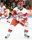 Ross Gaudet (BU - 22) scored his first goal of the season. - The visiting Merrimack College Warriors tied the Boston University Terriers 1-1 on Friday, November 12, 2010, at Agganis Arena in Boston, Massachusetts.