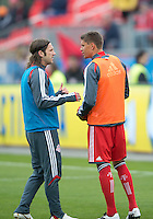 21 April 2012: Toronto FC midfielder Torsten Frings #22 talks with Toronto FC defender Adrian Cann #12 during the warm-up in a game between the Chicago Fire and Toronto FC at BMO Field in Toronto..The Chicago Fire won 3-2....