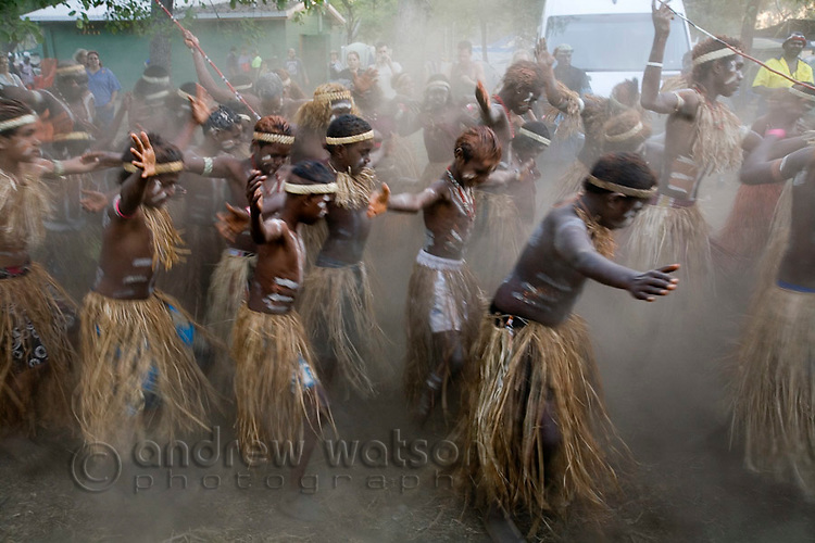 Lockhart River dance troupe performing at the Laura Aboriginal Dance Festival.  Laura, Queensland, Australia