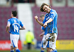 Hearts v St Johnstone&hellip;19.03.16  Tynecastle, Edinburgh<br />Two goal hero Murray Davidson celebrates with the fans at full time<br />Picture by Graeme Hart.<br />Copyright Perthshire Picture Agency<br />Tel: 01738 623350  Mobile: 07990 594431