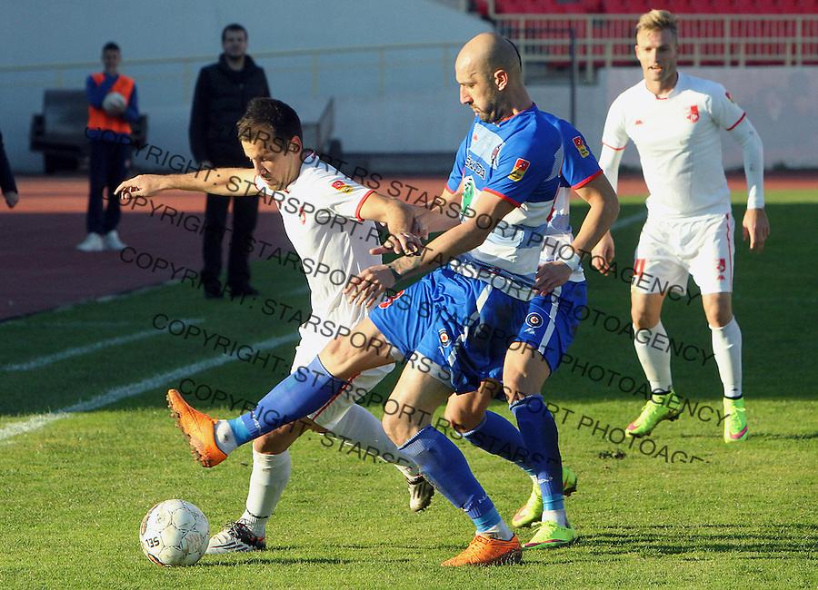 Fudbal Super liga season 2015-2016<br /> Radnicki (Nis) v Borac<br /> Radnicki Petar Djurickovic, Borac Dusan Micic<br /> Nis, 1.11.2015.<br /> foto: Sasa Djordjevic/Starsportphoto &copy;