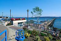 White Rock, BC, British Columbia, Canada - White Rock Pier and Seaside Promenade Walkway along Semiahmoo Bay, Summer