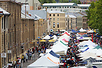 The Salamanca Market.  The weekly market in Salamanca Place  draws locals and tourists with its food and craft stalls.  Hobart, Tasmania, AUSTRALIA