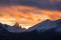 Canada,Yukon; Snow-covered Tombstone Mountains at sunset in late fall