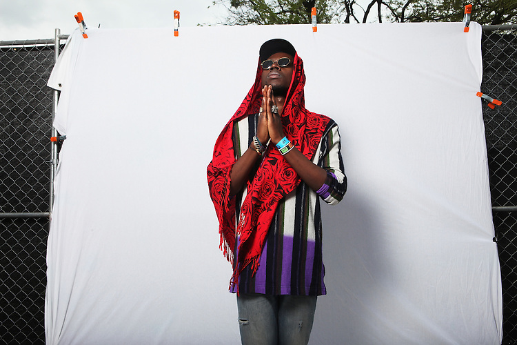 AUSTIN, TX - MARCH 14:  Theophilus London poses for a portrait backstage at Fader Fort presented by Converse during SXSW on March 14, 2012 in Austin, Texas.  (Photo by Roger Kisby/Getty Images)