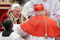 Belgian cardinal Julien Ries  , Pope Benedict XVI leads the Consistory where he will appoint 22 new cardinals on February 18, 2012 at St Peter's basilica at the Vatican.