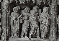 The coffin of the Virgin carried by 8 apostles, before 1540, from the choir screen, Chartres Cathedral, Eure-et-Loir, France. Chartres cathedral was built 1194-1250 and is a fine example of Gothic architecture. It was declared a UNESCO World Heritage Site in 1979. Picture by Manuel Cohen.