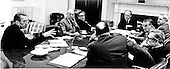 United States President Gerald R. Ford meets with members of the National Security Council (NSC) in the Roosevelt Room of the White House in Washington, D.C. on April 28, 1975.  They were discussing evacuation plans for the remaining Americans in South Vietnam. From left to right: Director of Central Intelligence (CIA) William Colby; United States Deputy Secretary of State Robert Ingersoll; United States Secretary of State Henry A. Kissinger; President Ford; United States Secretary of Defense James Schlesinger; United States Deputy Secretary of Defense William Clements; and General George S. Brown, Chairman, Joint Chiefs of Staff.<br /> Mandatory Credit: David Hume Kennerly / White House via CNP