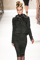 Teva walks runway in a Monique Lhuillier Fall 2011 outfit, during Mercedes-Benz Fashion Week Fall 2011.