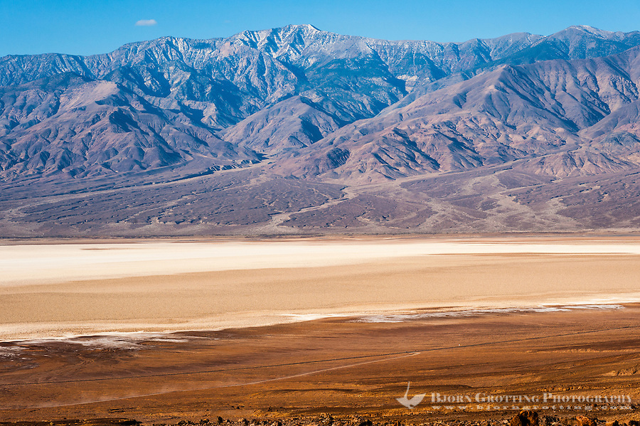 United States, California, Death Valley. View over Badwater Basin from Natural bridge road.. Telescope Peak is the highest point within Death Valley National Park.